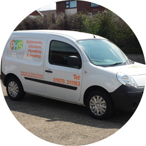 PHS Supplies van outside Wrexham showroom