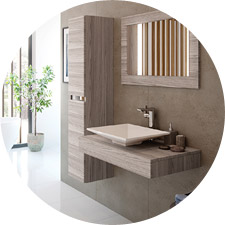 Example of modern bathroom basin and storage