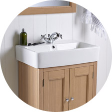 Example of contemporary bathroom basin and storage